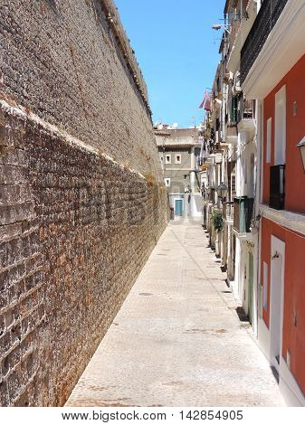 City wall or fortification wall of Dalt Vila, Ibiza Town.