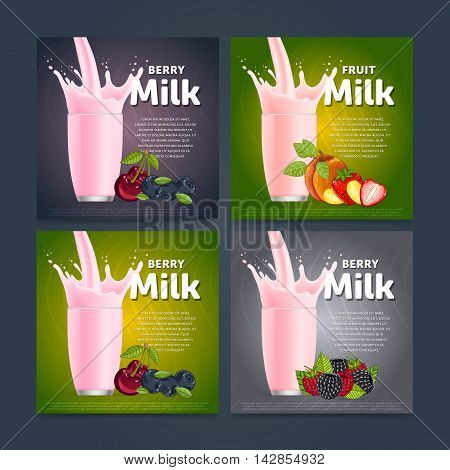 Banners of fruit mix sweet milkshake dessert cocktail glass fresh drink in cartoon vector illustration. Fruit milk splash. Milk cocktail dessert. Delicious drink. Glass of fruit milkshake. Sweet milk drink. Milk splash in a glass. Milkshake.