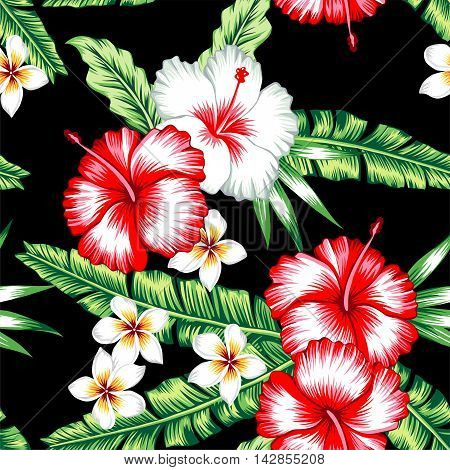 Tropic summer floral hibiscus and plumeria seamless vector pattern with palm banana leaf and plants. Composition with flower jungle background. Print Hawaii hand drawn fashion bunch exotic wallpaper.