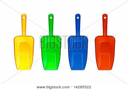 Four Colorful Plastic Transparent Scoops