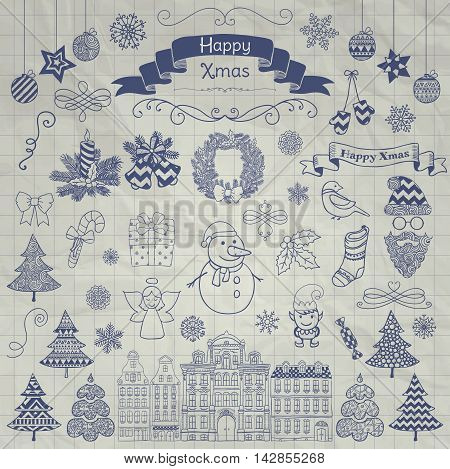Set of Hand Drawn Artistic Christmas Doodle Icons on Crumpled Note ook Texture. Pen Drawing Xmas Vector Illustration. Sketched Decorative Design Elements, Cartoons. New Year