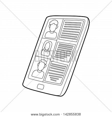 Resumes on the tablet screen icon in outline style on a white background