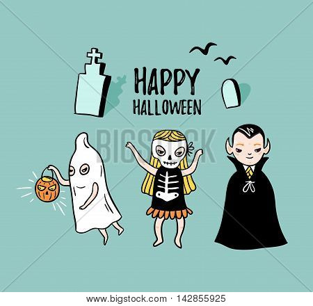 Halloween card with stylish lettering - 'happy halloween '. Vector Illustration of Halloween theme with children - vampire ghost and skeleton. Children in costumes.