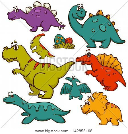 Dinosaur collection set. Dinosaurs cute color monster animal and prehistoric. Cartoon style. Vector Illustration.