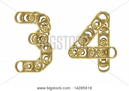 ring pull of cans numbers 3 4 isolated on white background
