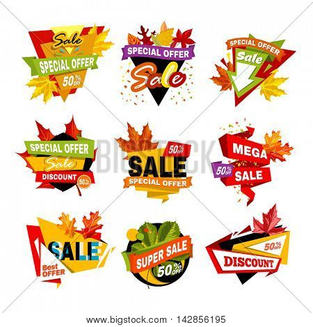 Special offer off banner. Super mega autumn or fall sale, discount, best offer. Symbol of promotion and advertising. Sticker for business. Flat design Vector illustration isolated on white background.