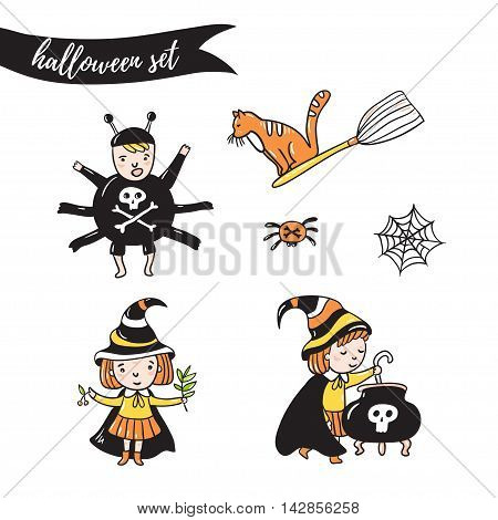 Set of halloween characters. Children in costumes. witches spider and cat isolated on the white background. Vector illustration.