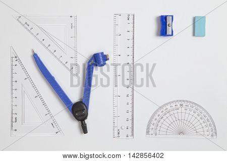 School Maths Set Lying Flat