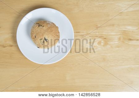 Scone On A White Plate From Above