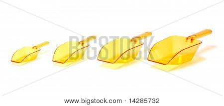 Four Orange Plastic Transparent Scoops