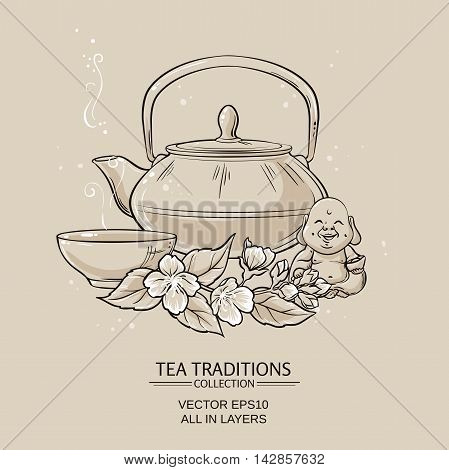 Illustration with teapot with tea bowl and jasmine