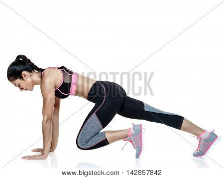 woman fitness exercises isolated