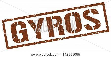 gyros stamp. brown grunge square isolated sign