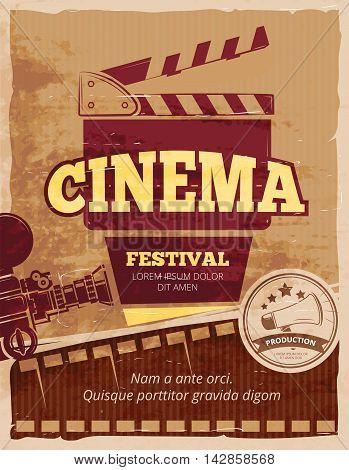 Cinema, movie festival vintage poster. Cinematography banner. Vector illustration