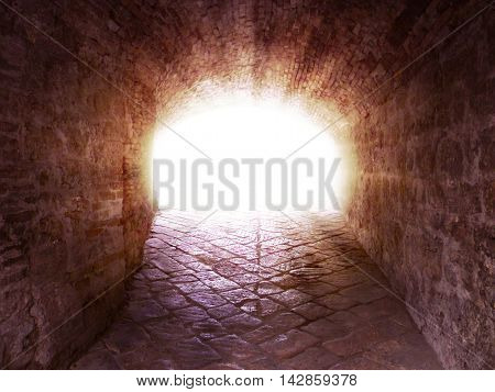 Way to heaven, religious scene of light at the end of the tunnel.
