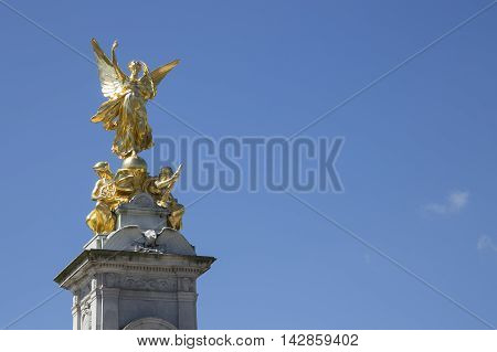 Gold Angel Statue Outside Buckingham Palace