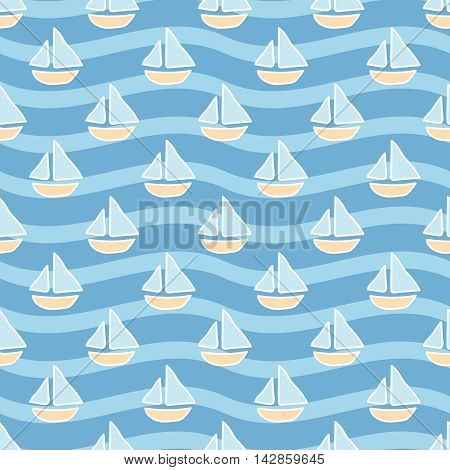 Seamless sea background. Hand drawn pattern. Suitable for fabric, greeting card, advertisement, wrapping. Bright and colorful sailing ships seamless pattern