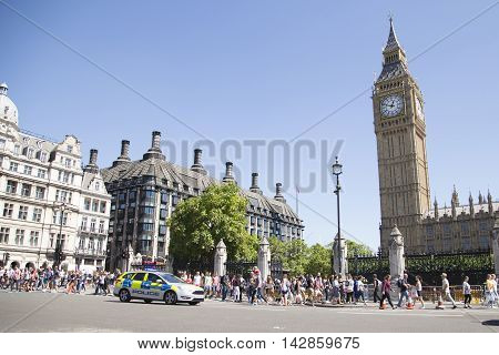 Police Car Driving Past Big Ben On Way To Incident