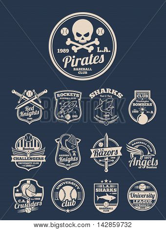 T-shirt design templates for colleges. Sport baseball emblem or label. Vector illustration