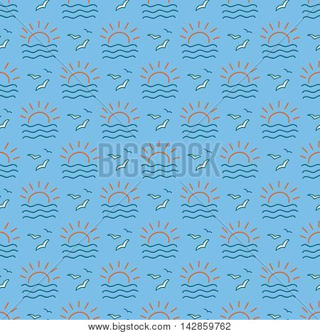 Seamless sea background. Hand drawn pattern. Suitable for fabric, greeting card, advertisement, wrapping. Bright and colorful seagulls and sunrise seamless pattern