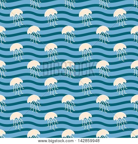 Seamless sea background. Hand drawn pattern. Suitable for fabric, greeting card, advertisement, wrapping. Bright and colorful jellyfish in the waves seamless pattern