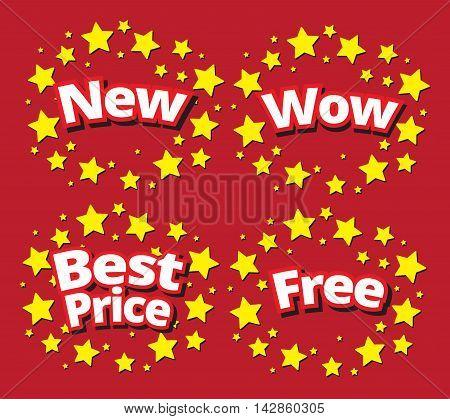Starbursts set sale banner promotion set newwowbest pricefree surround with star