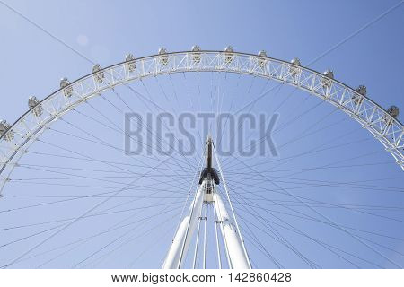 Wide Angle Looking Up At The Coca Cola London Eye With A Clear Blue
