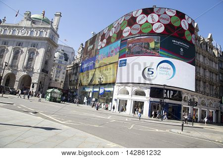 Tilted View Of Large Screen In Piccadilly Circus.