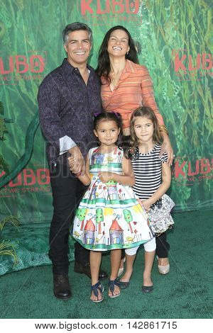 LOS ANGELES - AUG 14: Esai Morales, Mariana Oliveira Morales, Elvimar Silva at the premiere of 'Kubo and the Two Strings' at AMC Universal City Walk on August 14, 2016 in Los Angeles, CA