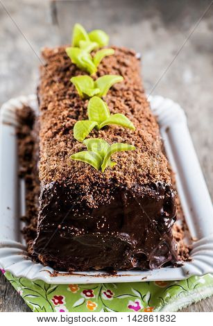 Chocolate Cake In The Form Of Logs Decorated With Chocolate Chips And Leaves Of Fondants