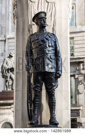 London UK - June 15 2016: statue at the Royal Exchange in London. Built as a centre of commerce for the City of London the Exchange contains today offices luxury shops and restaurants