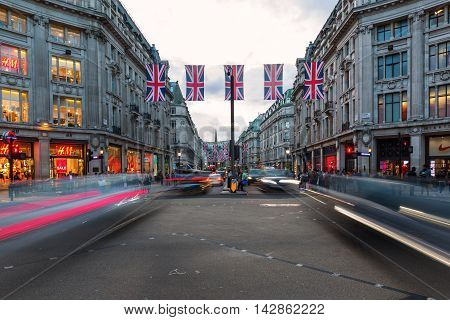 Traffic At Oxford Circus In London, Uk, At Dusk