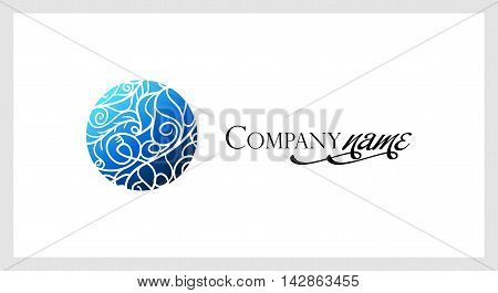 Beautiful mosaic lace logo in stamp style. Stencil abstract monogram