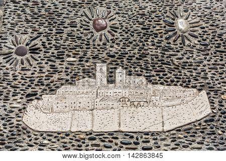 Mosaic Of Saint-paul-de-vence On Pebble Pavement