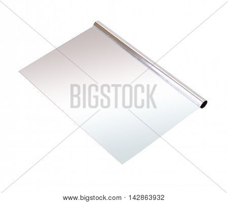 Stainless steel dough scraper on white background.