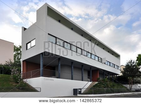 Stuttgart, Germany - April 22, 2014: White rectangular building of a museum in perspective. The architect Le Corbusier. International style avant-garde constructivism. Neighborhood Weissenhof, Stuttgart.