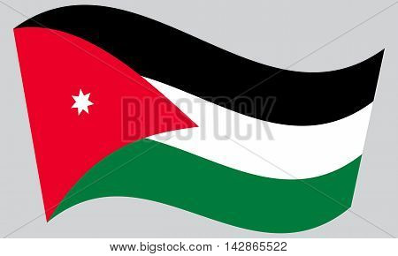 Flag of Jordan waving on gray background. Jordan national flag.