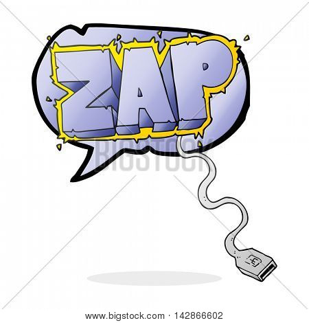 freehand drawn speech bubble cartoon usb cable