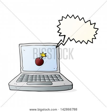 freehand drawn speech bubble cartoon laptop computer with bomb symbol