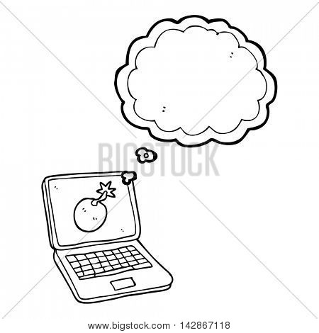 freehand drawn thought bubble cartoon laptop computer with error screen