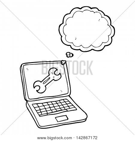freehand drawn thought bubble cartoon laptop computer with fix screen