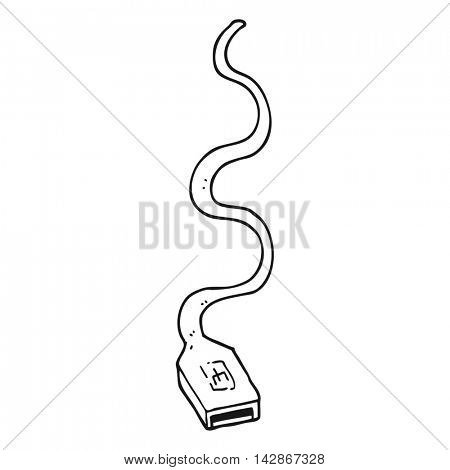 freehand drawn black and white cartoon usb cable