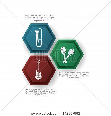 trumpet guitar maraca infographic music sound icon. Flat and Colorful illustration. Vector illustration
