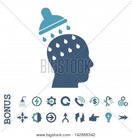 Brain Washing vector bicolor icon. Image style is a flat pictogram symbol, cyan and blue colors, white background.