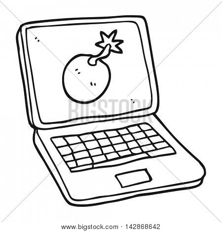 freehand drawn black and white cartoon laptop computer with error screen