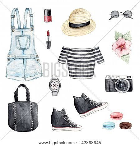 Watercolor illustration of hand painted clothes accessories set