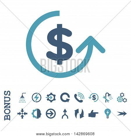 Chargeback vector bicolor icon. Image style is a flat iconic symbol, cyan and blue colors, white background.