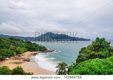 A lonely coast and beach in the cloudy day