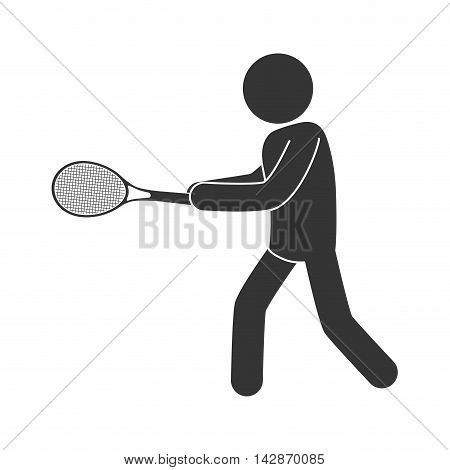 tennis man playing racket athlete moving game hand vector  isolated illustration