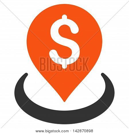 Bank Placement icon. Vector style is bicolor flat iconic symbol with rounded angles, orange and gray colors, white background.